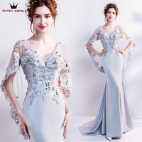 Mermaid V Neck Cape Lace Beading Satin Sexy Gray Evening Gowns Evening Dresses 2018 New Prom