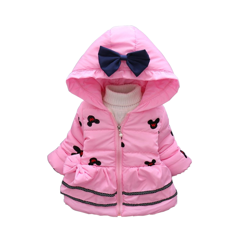 Girls Minnie Jacket New Cotton Winter Girls Coats Keep Warm Hooded Jacket For Girls Lovely Baby Kids Clothes Children Clothing