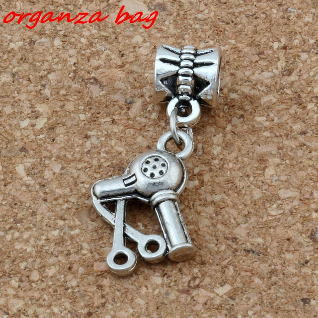 Mic 10 Pcs Ancient Silver Scissors Dryer Hair Stylist Charm Hole Beads Fit European