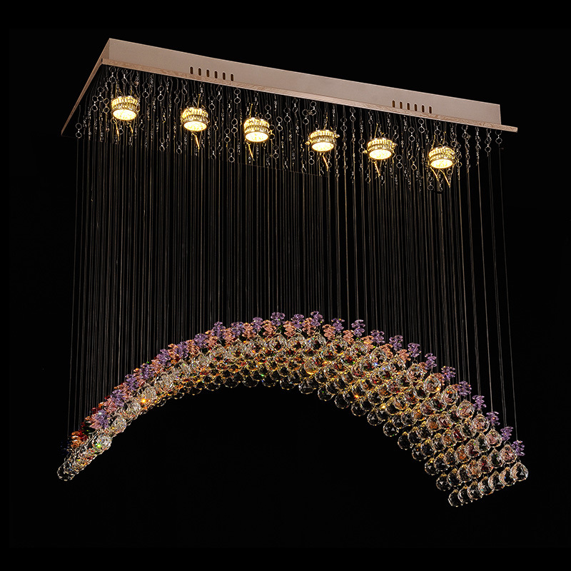Free Shipping Rectangle Dining Room Lighting Fixtures Luxury Modern Crystal Chandelier For Home L100W30