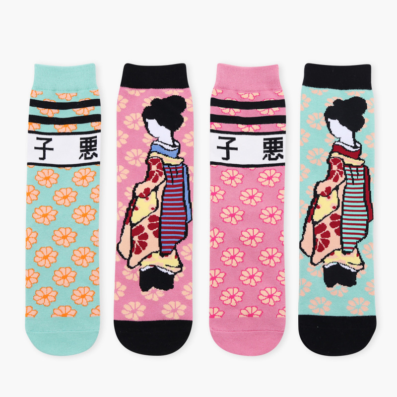 2018 Evil New Japanese Trend Sexy Art Short Socks Women Female Personality Breathable Long Cotton Funny Socks Kimono Pattern