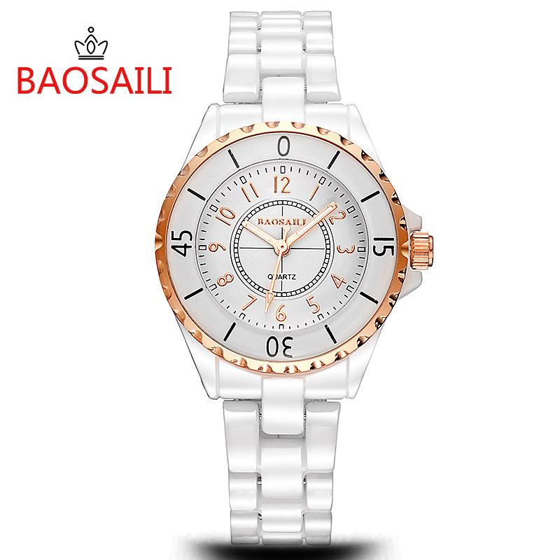 Prix pour TGJW226 BAOSAILI Marque De Mode Quartz En Céramique En Céramique Blanc Bracelet Femmes Montre avec Mouvement À Quartz Japonais PC21
