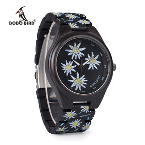Image 3 - BOBO BIRD WP06 Fashion Colorful Print Wood Watch for Men Women Newest Imitate Embroidery Brand Design Quartz Watches as Gift