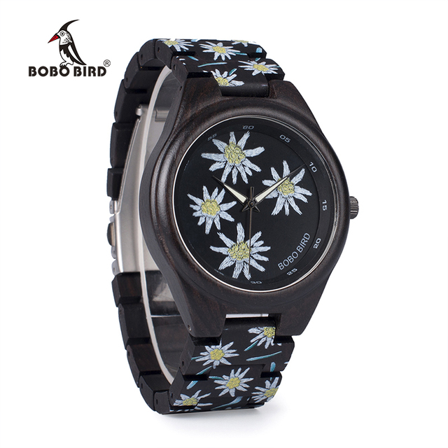 BOBO BIRD WP06 Fashion Colorful Print Wood Watch for Men Women Newest Imitate Embroidery Brand Design Quartz Watches as Gift Women's Watches