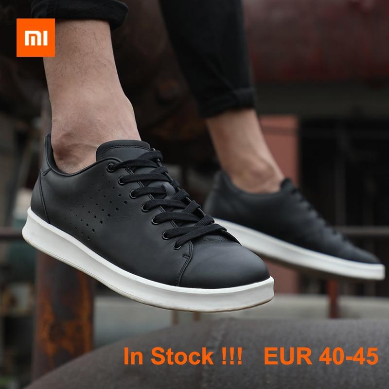 Xiaomi MIJIA FreeTie en cuir véritable Skateboard hommes chaussures anti-dérapant mode loisirs soutien puce intelligente (non inclus)
