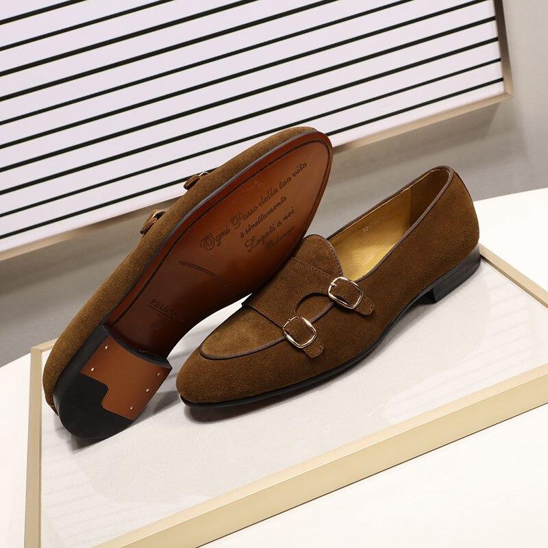 Модные дизайнерские Замшевые мужские лоферы; цвет черный, коричневый, зеленый; повседневные модельные туфли для свадебной вечеринки; мужские туфли с ремешком; размеры 39 46 - 3