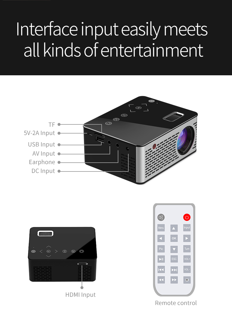 VIVICINE T200 Pocket LED Mini Projector,Touch keys HDMI USB AV Video Game Projector Beamer Support External Power Bank (12)