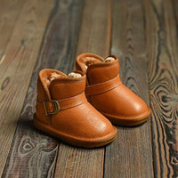 WENDYWU winter children genuine leather boots for girls brand ankle boots kids fashion warm shoes baby boys snow boots red