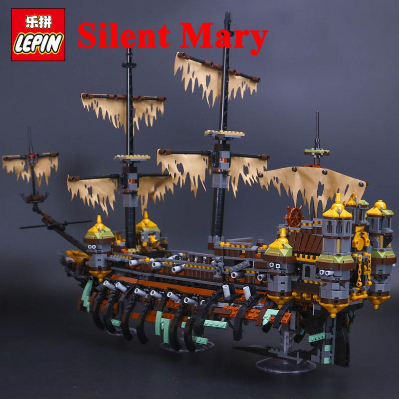 Lepin boat Model 16042 Silent Mary Set Pirate Ship Building Blocks Bricks Toys Compatible Legos pirates of the caribbean 71042 lepin 16042 pirate ship movie captain jack silent mary ship set caribbean model building blocks bricks diy toy 71042 children
