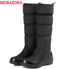 morazora 2017 fashion keep warm down snow boots thick fur inside elastic band mid calf winter boots platform footwear women boot