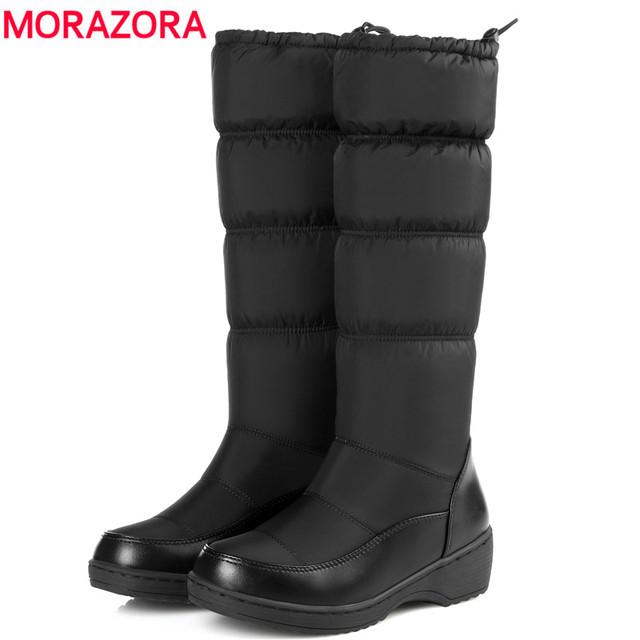 MORAZORA 2017 moda manter quente para baixo botas de neve pele grossa dentro elástico meados de bezerro botas de inverno plataforma mulheres calçados bota