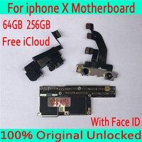 100% Оригинал разблокирован для iphone x материнская плата без лица ID/с лицом ID плата 64 Гб 256 ГБ для iphone X логические платы