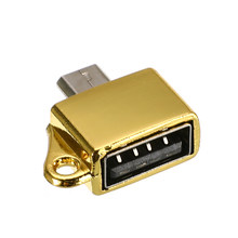 Logam Micro USB Male Ke USB 2.0 Female OTG Converter Adaptor dengan Gantungan Kunci Ponsel Adaptor Aksesoris(China)