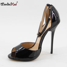 Wonderheel hot sale ultra high heel 14cm stiletto heel ankle strap peep toe Sexy High Heel fashion sexy women sandals big size(China)