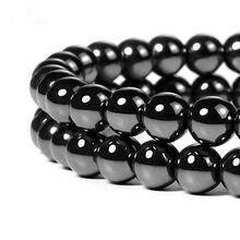 Бусины из черного оникса и агата, 4-12 мм, бусины из натурального камня AAA + для изготовления ювелирных украшений, круглые бусины-подвески для б...