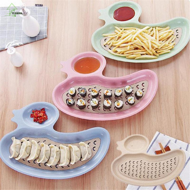 YI HONG duck shape Dumpling plate tray Tableware with Dropping Cute Design Plastic Wheat Straw Children : cute plastic plates - pezcame.com