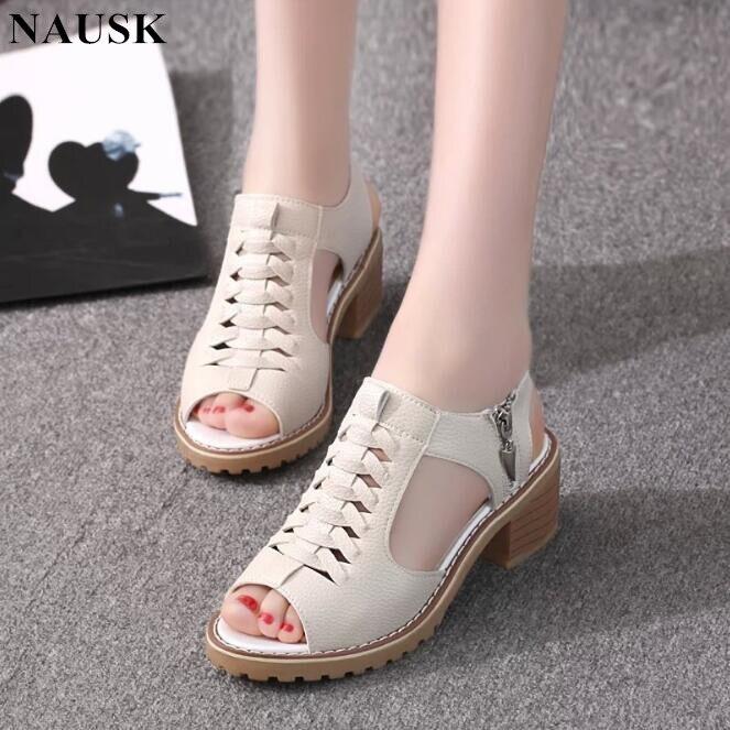 NAUSK Women's Sandals Heel-Shoes Square Summer-Style Peep-Toe Woman Elegant Mid Zip Cross-Tied-Side
