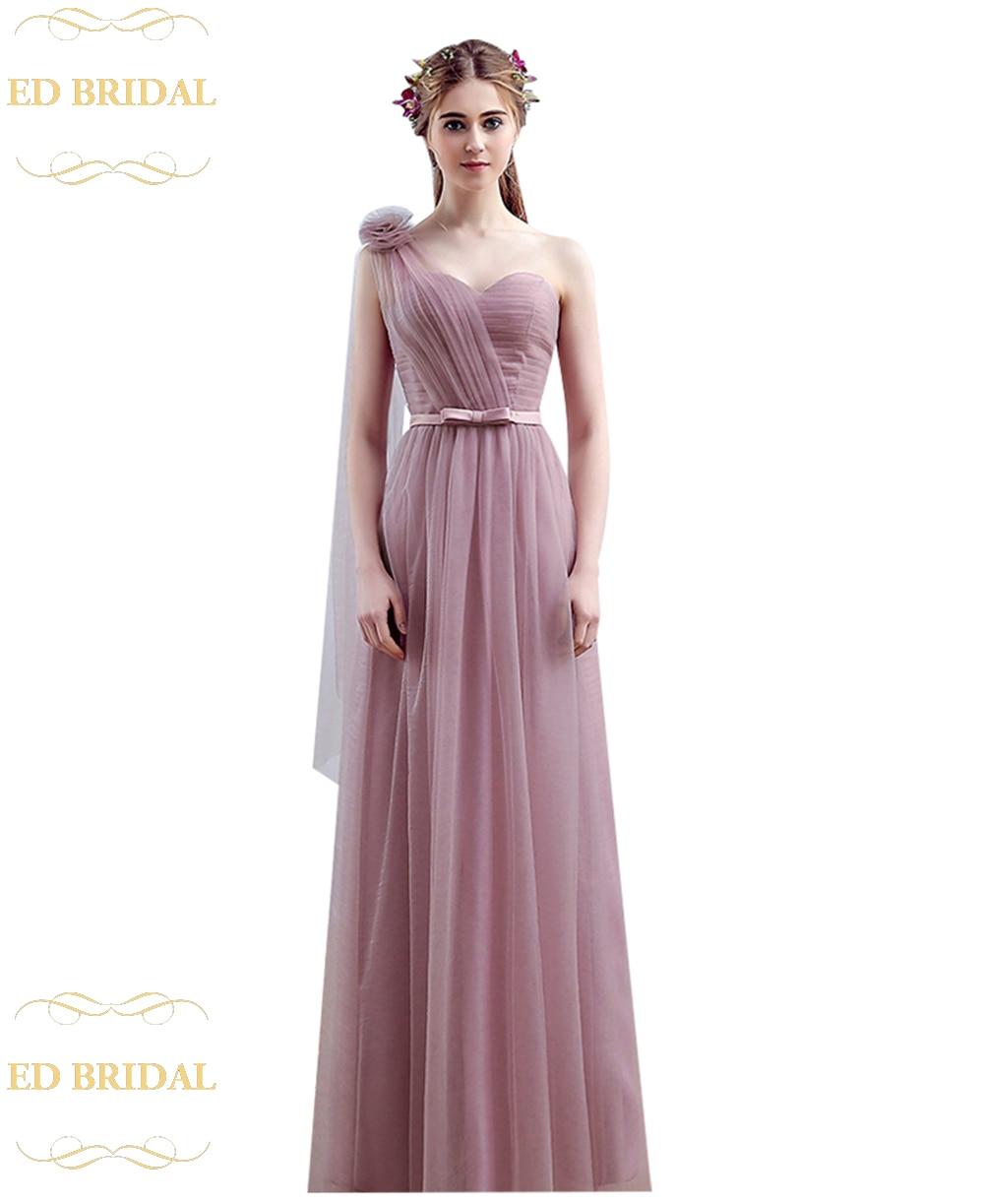 Vestido One Shoulder Floor Length Long Bridesmaid Dresses