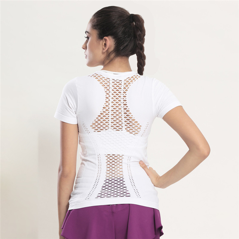 Mesh Yoga Shirts Tops Sports Apparel Fitness Tanks Sport T Shirt Woman Gym Athletic Workout Running Clothes For Women