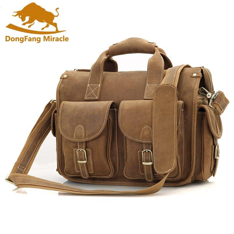 Новый Crazy Horse кожаный портфель для ноутбука, сумки для мужчин, винтажная большая емкость, двойная сумка, сумка на плечо