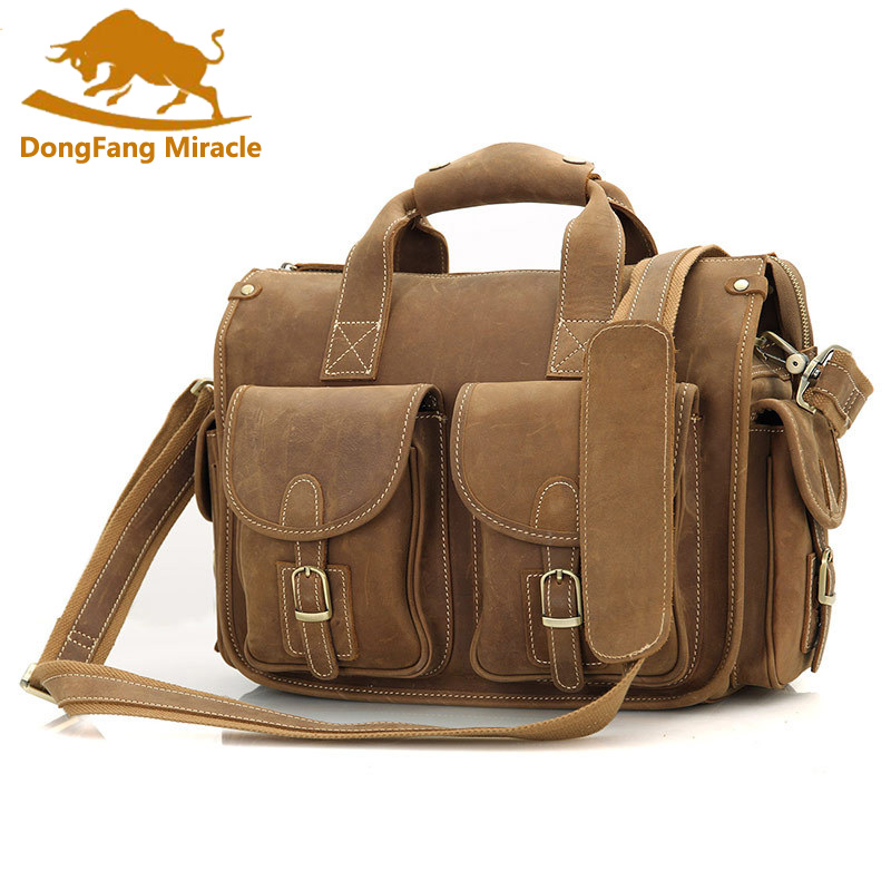 New Crazy Horse Leather Briefcases Laptop Bags For Mens Vintage Large capacity Double Handbag Shoulder bagNew Crazy Horse Leather Briefcases Laptop Bags For Mens Vintage Large capacity Double Handbag Shoulder bag