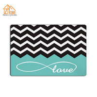 Memory Home Love Infinity Forever Love Symbol Chevron Pattern Green White Fabric Non Slip Indoor Rug