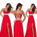 Vestidos de festa vermelho bule contas chiffon longo vestido de noite 2015 formal mulheres vestidos frete grátis em estoque