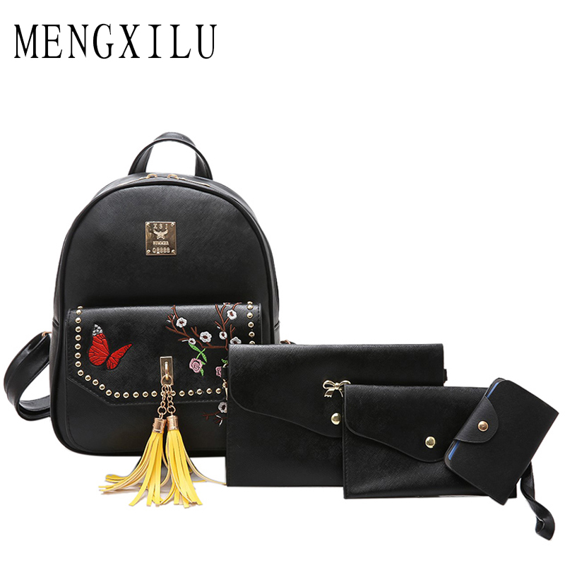 MENGXILU Fashion Backpack Women Pu Leather Back Pack Famous Brand School Bags for Girls sac a dos femme with Purse and Mochilas