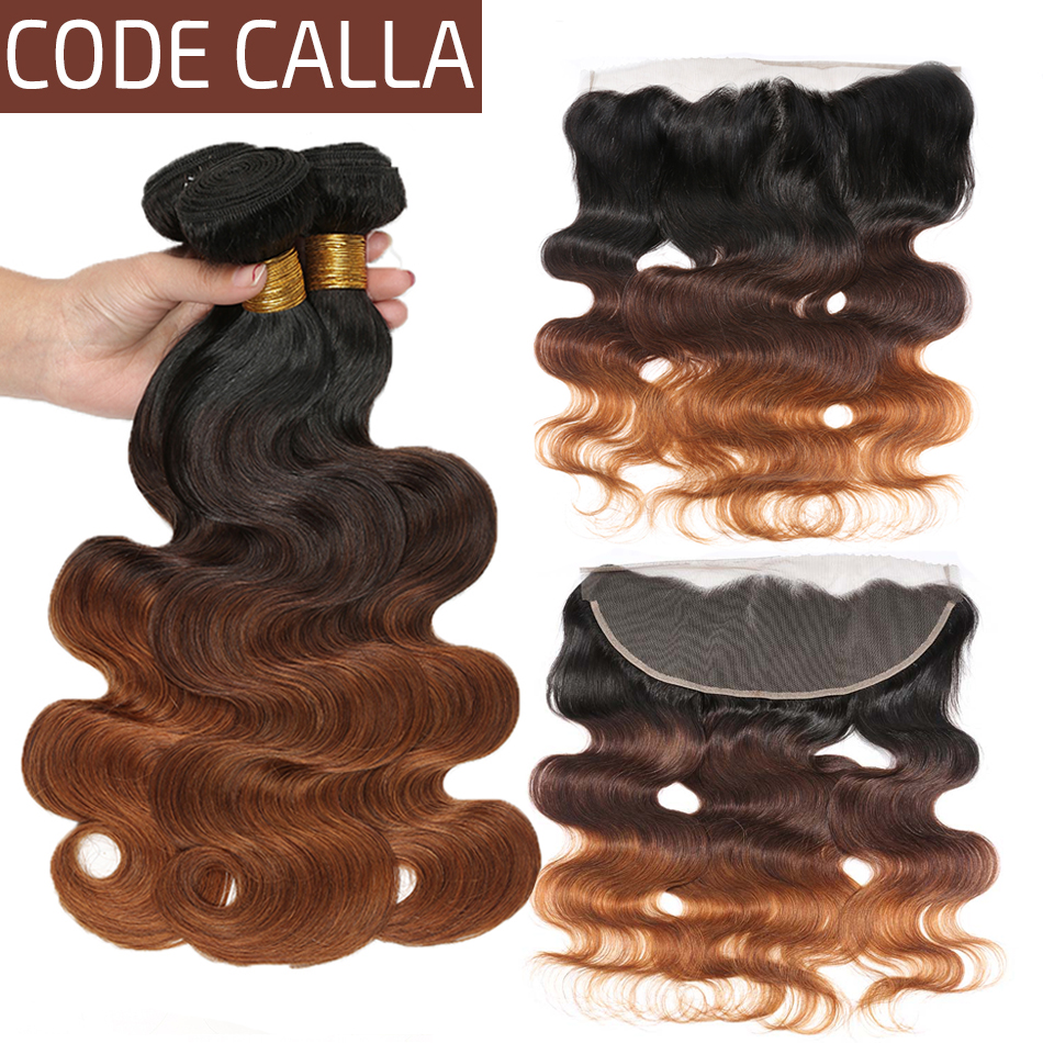 Code Calla Indian Raw Virgin Brown Body Wave Bundles With 13*4 Frontal 100% Human Hair Wave Bundles With Closure Ombre Color