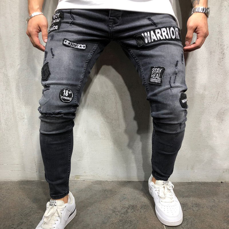 Skinny Hole Ripped Denim Jeans For Men Hip Hop Slim Fit Streetwear Patchwork Badge Distressed Black Pencil Pants