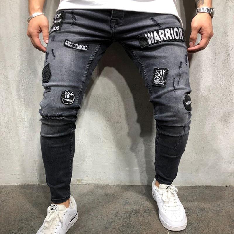 Skinny Hole Ripped Denim Jeans For Men Hip Hop Slim Fit Streetwear Patchwork Badge Distressed Black Pencil Pants