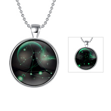 GOMAYA Luminous Constellation Series Sagittarius Round Pendant Necklaces Wholesale Jewelry Fashion Vintage Unisex Gift