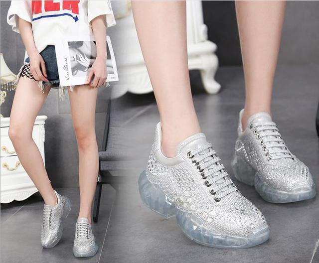 Hot real leather transparent sports flatform shoes blink crystal women size 34 40