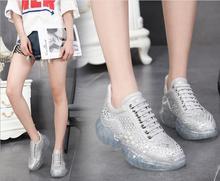 ホットリアルレザー透明スポーツ flatform 靴点滅クリスタル女性サイズ 34 40