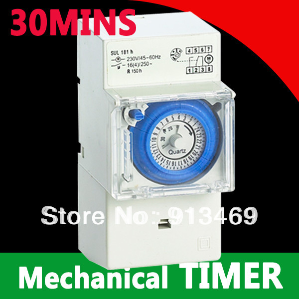30 Minutes 24 Hours Mechanical Timer switch 230vac Analogue Time Switch FREE SHIPPING 2pcs lot brand new sul 181d analog 24 hours mechanical din rail timer switch 15minutes