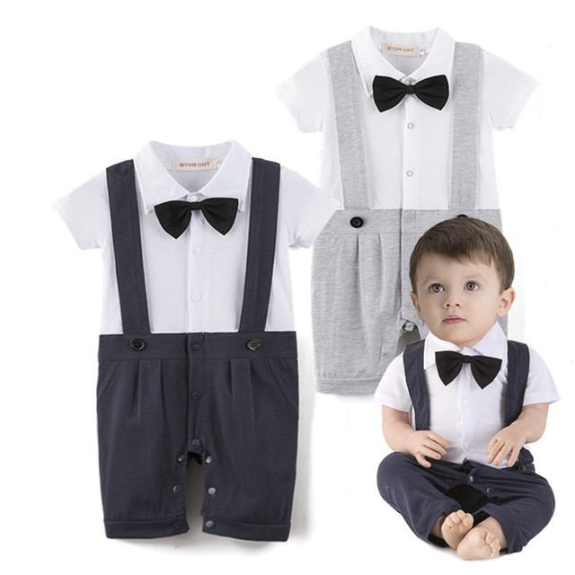 6e7b193e8f9c Baby clothing cotton outfit romper short sleeve gentlemen bow tie ...