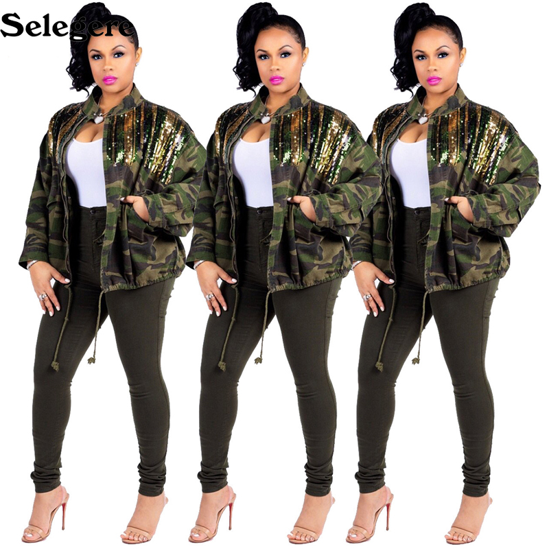 New Women's Green Camouflage long Sleeve Coats With Sparkle Glam Striped Sequin Europe and America Hot sale Overcoat outer wear