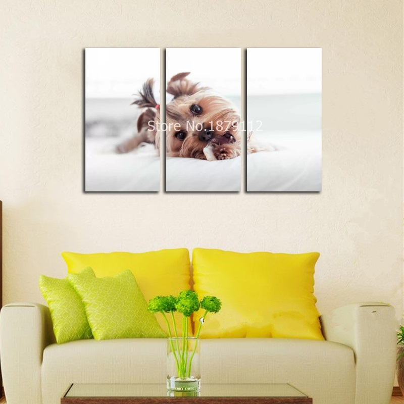 Hot Sale Braids Cute Dog Wall Art For Living Room Home Decor Artwork ...