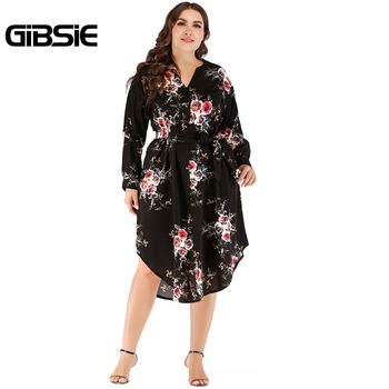 GIBSIE Boho Floral Print Belted Tunic Midi Dress 2018 Autumn Women Long Sleeve Casual Dresses 4XL Plus Size Women's Clothing
