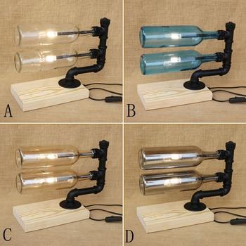 Modern stained glass Bottle lampshade desk light include double G4 light bulbs wood base tabel light for living room 220V