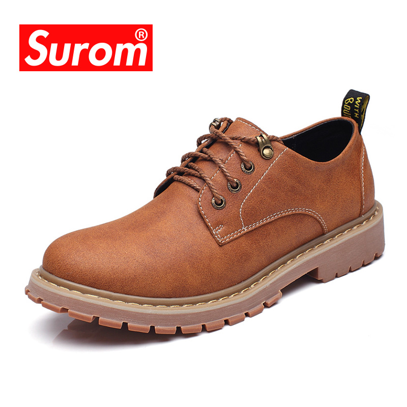 SUROM PU Lace-Up Low Casual Shoes Mens New Breathable Round Toe Retro Shoes Non-Slip Soles Height Increasing Male Shoes home decoration flower arrangement artificial roses