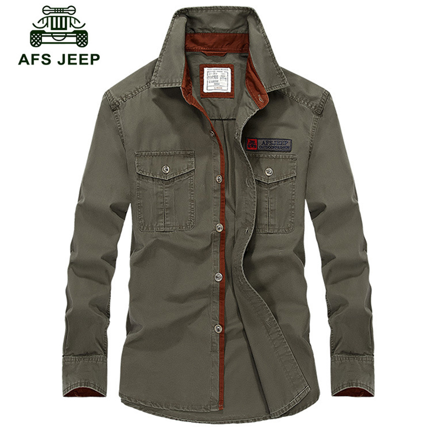 Afs Jeep Military Long Sleeve Shirt Men Plus Size Brand Clothing 2018 Spring Autumn Plus Size 5XL Business Breakout Casual Shirt