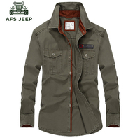 Afs Jeep Military Long Sleeve Shirt Men Plus Size Brand Clothing 2018 Spring Autumn Plus Size