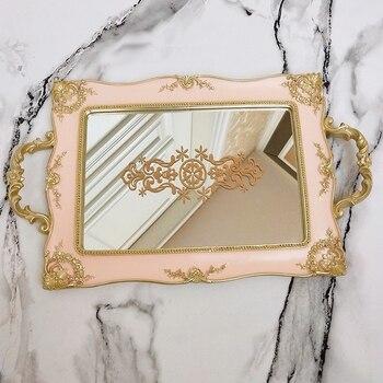Europäischen Vintage Kuchen Schalen Gold Spiegel Glas Cupcake Platte Parfüm Halter Gespiegelt Make Fach Hochzeit Party Dekoration