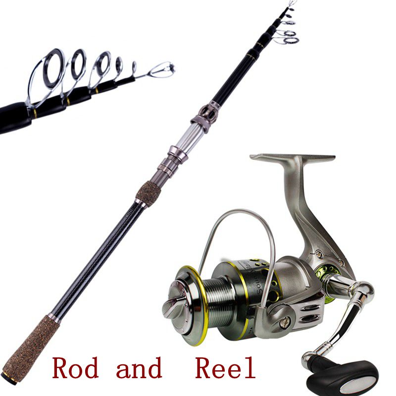 ФОТО Sougayilang 1.8-2.7M Carbon Telescopic Fishing Rod And Spinning Fishing Reel Rock Boat Saltwater Fishing Rods and Reels Combo