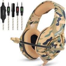 K1 Spel Oortelefoon Headset Bass Gaming Hoofdtelefoon Casque Camouflage PS4 met Microfoon voor Mobiele Telefoon PC Tablet Voor Gaming Spelers