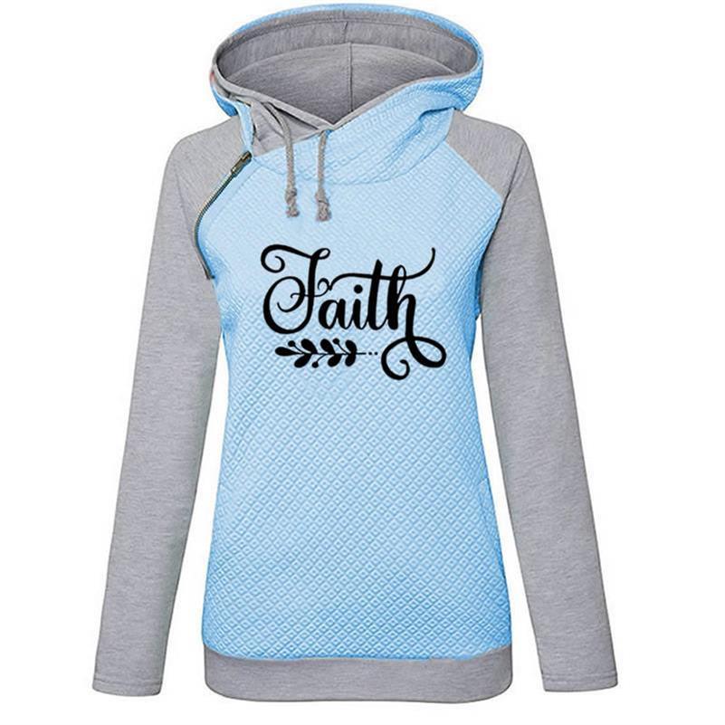 Faith Letters Print Zipper Decoration Hoodies For Women Hoodies Women Sweatshirt Femmes Kawaii Tops Loose Clothings Girls Youth in Hoodies amp Sweatshirts from Women 39 s Clothing