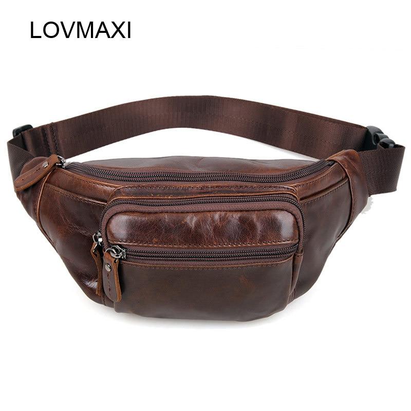 LOVMAXI 2018 Nouvelle huile en cuir Hommes de taille packs café Mâle sacs Occasionnels taille sacs petit sac à main Mâle voyage sacs