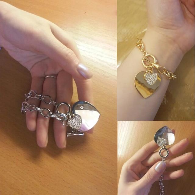 Gold love heart charm bracelets for women accessories silver
