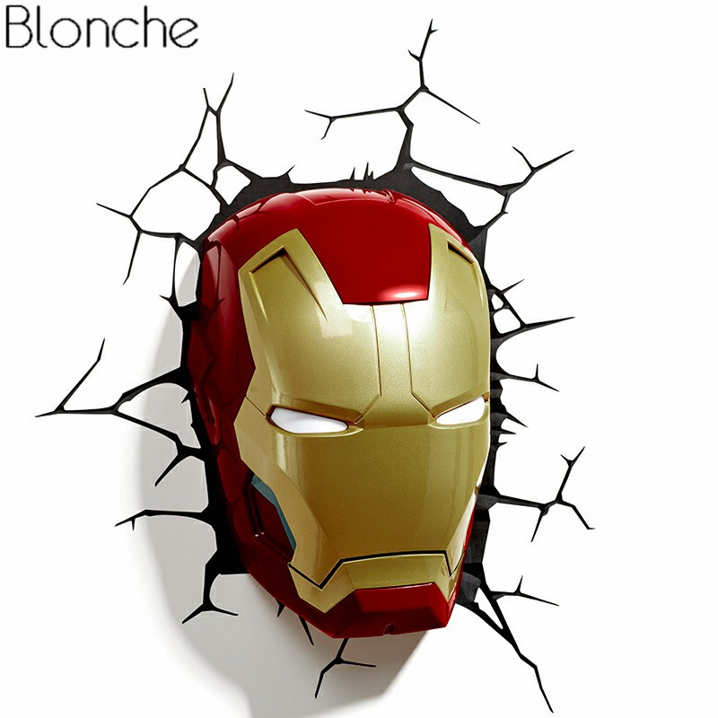 Superhero 3D Night Light Creative Lamp for Children Study Bedroom Living Room Bar Iron Man Spider Man Wall Lamp for Kid Gifts